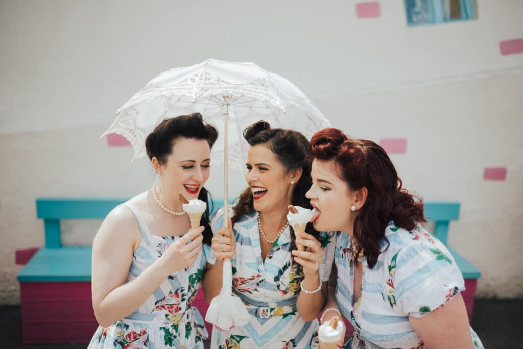 The Victory Sisters eating ice cream